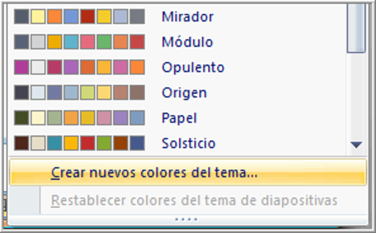 Opción para crear nuevos colores del tema.
