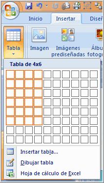 Insertar tabla con comandos de la cinta de opciones