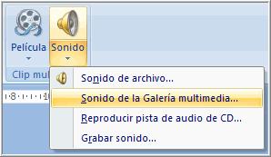 Opción sonido de galería multimedia
