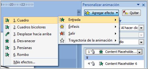 Powerpoint 2007 Efectos De Animación Predeterminados