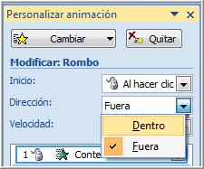 Cuadro personalizar animación