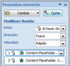 Opciones cuadro personalizar animación