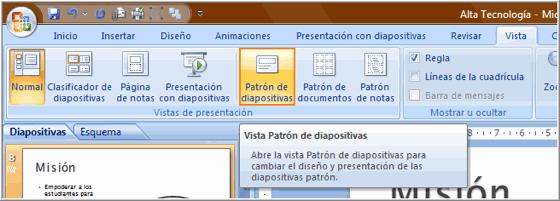 Opción Patrón de Diapositivas