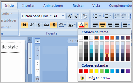 Opción color de fuente