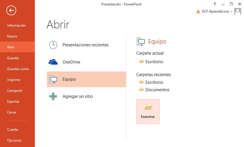 Podrás abrir tus presentaciones guardadas en tu computador o en tu OneDrive.