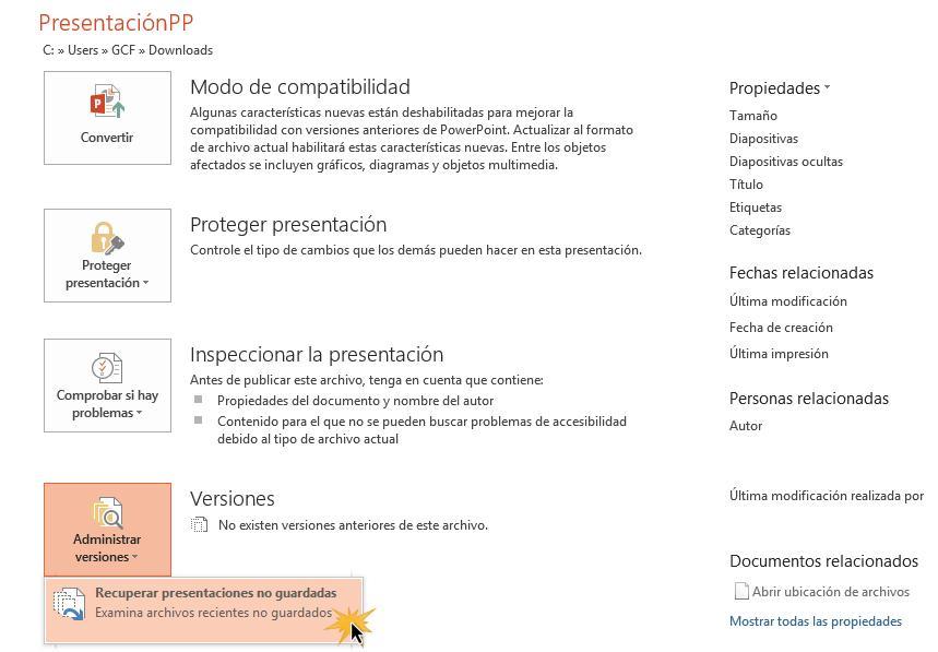 Haz clic en Administrar versiones y elegir Recuperar presentaciones no guardadas.