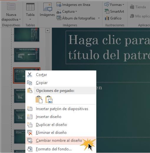 Haz clic en Cambiar nombre del diseño.