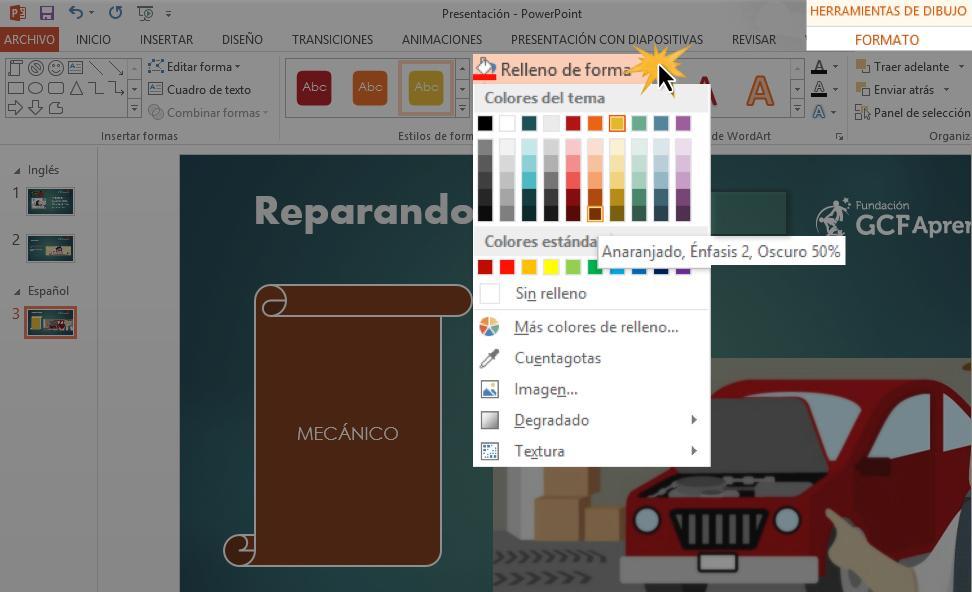Puedes ver más colores en la opción Más colores de rellenos.