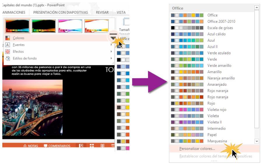 Elige los colores que más se ajusten a tu presentación.