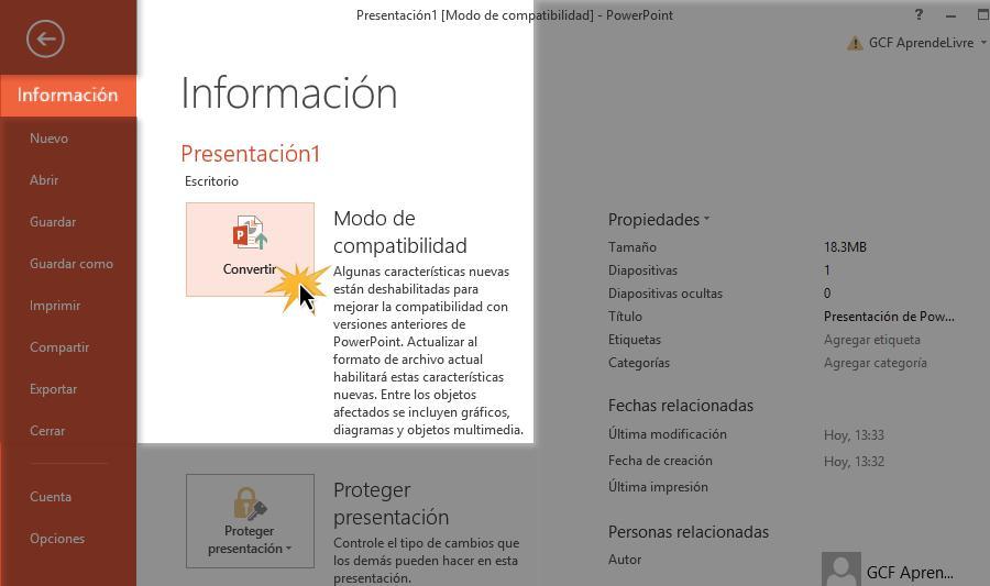 Haz clic en Convertir y luego guarda la presentación.