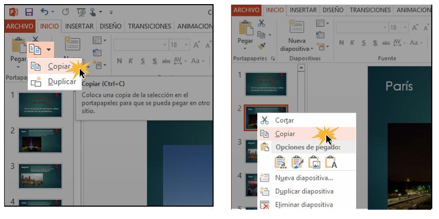 Puedes copiar imágenes con el ratón o con el comando ubicado en la Cinta de Opciones.