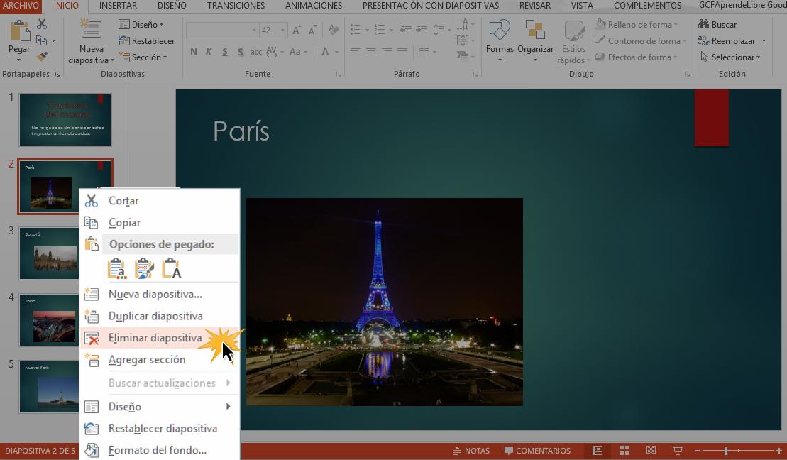 También puedes eliminar diapositivas con la tecla Atrás del teclado.