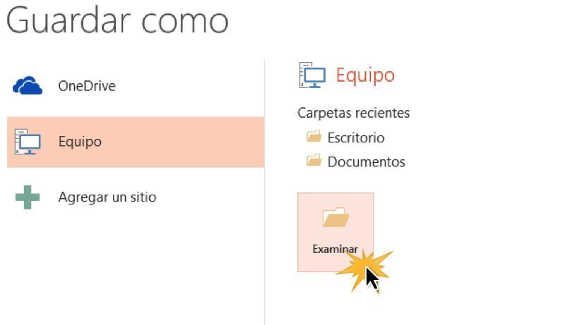 Selecciona la opción Equipo y dale clic en Examinar.