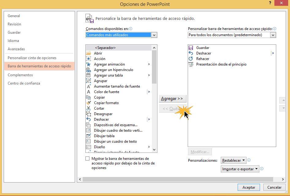 Desde este cuadro puedes añadir más comandos a la barra de acceso rápido.