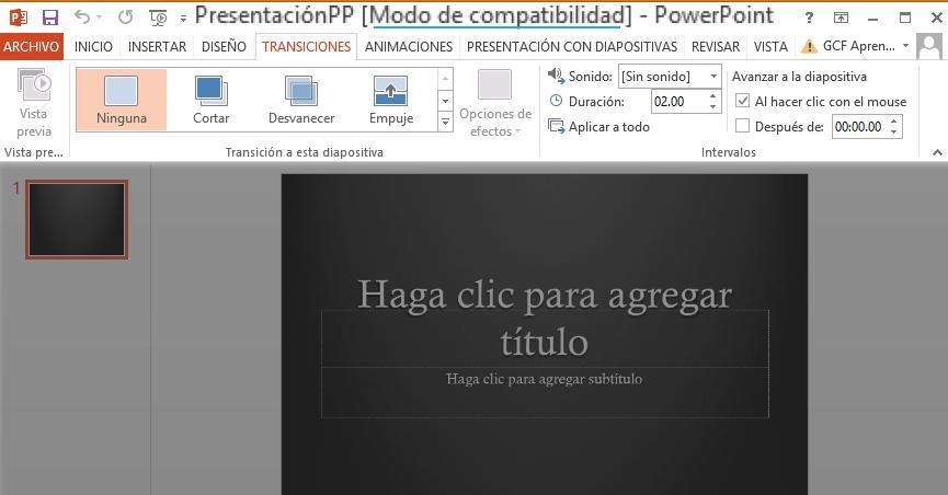 Para salir del Modo de compatibilidad necesitas convertir la presentación al tipo de versión actual