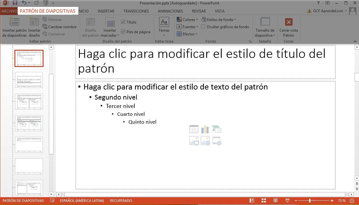 Lo que hagas acá afectará a todas las diapositivas de la presentación.