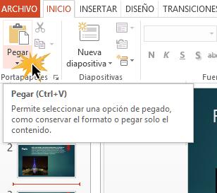 Haz clic en medio de dos diapositivas y selecciona el comando Pegar.