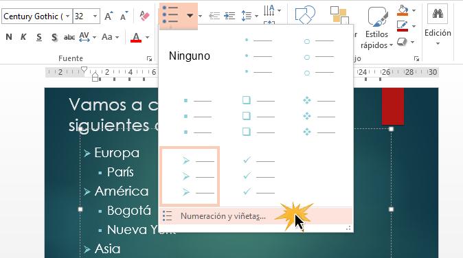 Con el comando Numeración y viñetas puedes acceder a otras funciones.