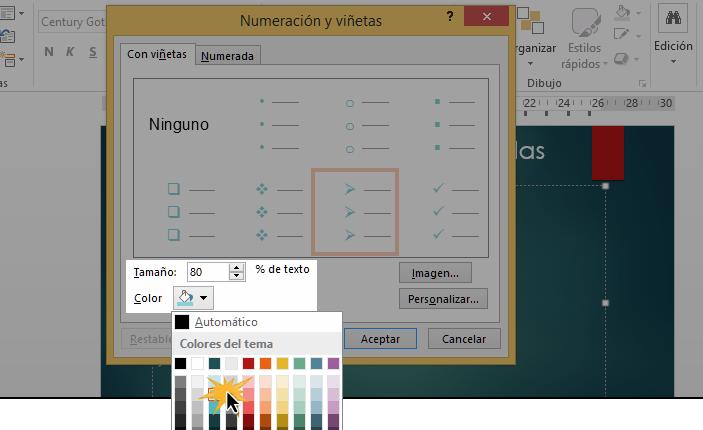 Puedes cambiarle el tamaño y el color a las listas de viñeta y numeradas.