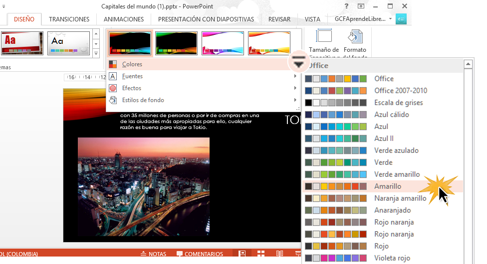 Selecciona la combinación de colores que más se ajuste a tu presentación.
