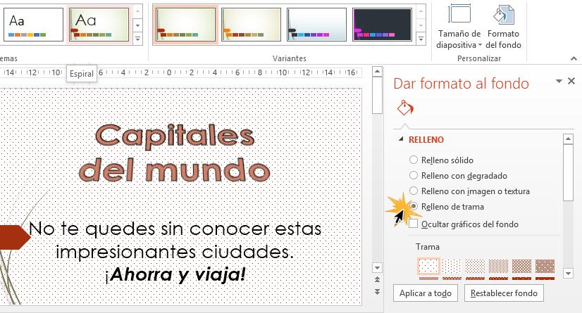 El Formato al fondo te permite editar de muchas formas el fondo de tu diapositiva.