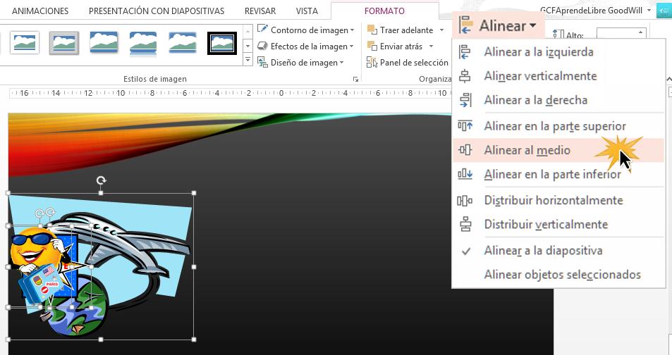 Puedes alinear los objetos en cualquier parte de la diapositiva.