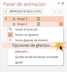 Busca el comando Opciones de efectos para afinar tus animaciones.