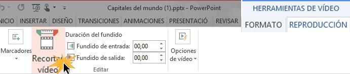 Edita los tiempos de inicialización y finalización del video.