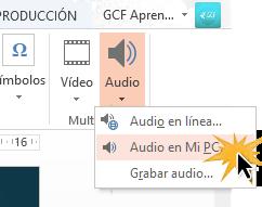 Puedes subir audios desde internet, desde tu computador o grabar uno.