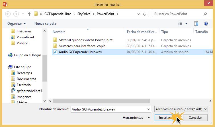 Selecciona el archivo de audio y dale clic en Insertar.