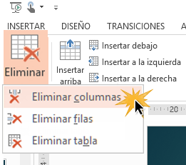 Puedes eliminar solo una fila, una columna o toda la tabla.