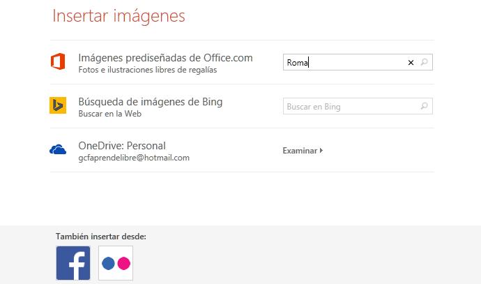 Puedes buscar imágenes en internet con Bing o predeterminadas de PowerPoint.