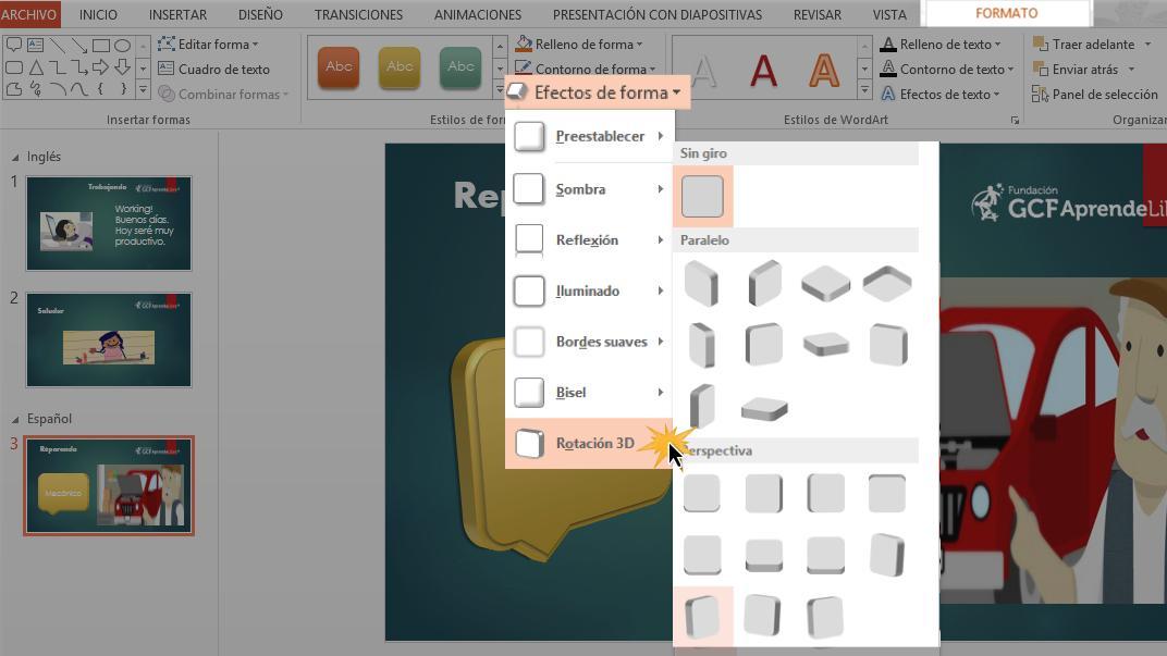 En la pestaña Formato, haz clic en la flecha desplegable de Efectos de formas.