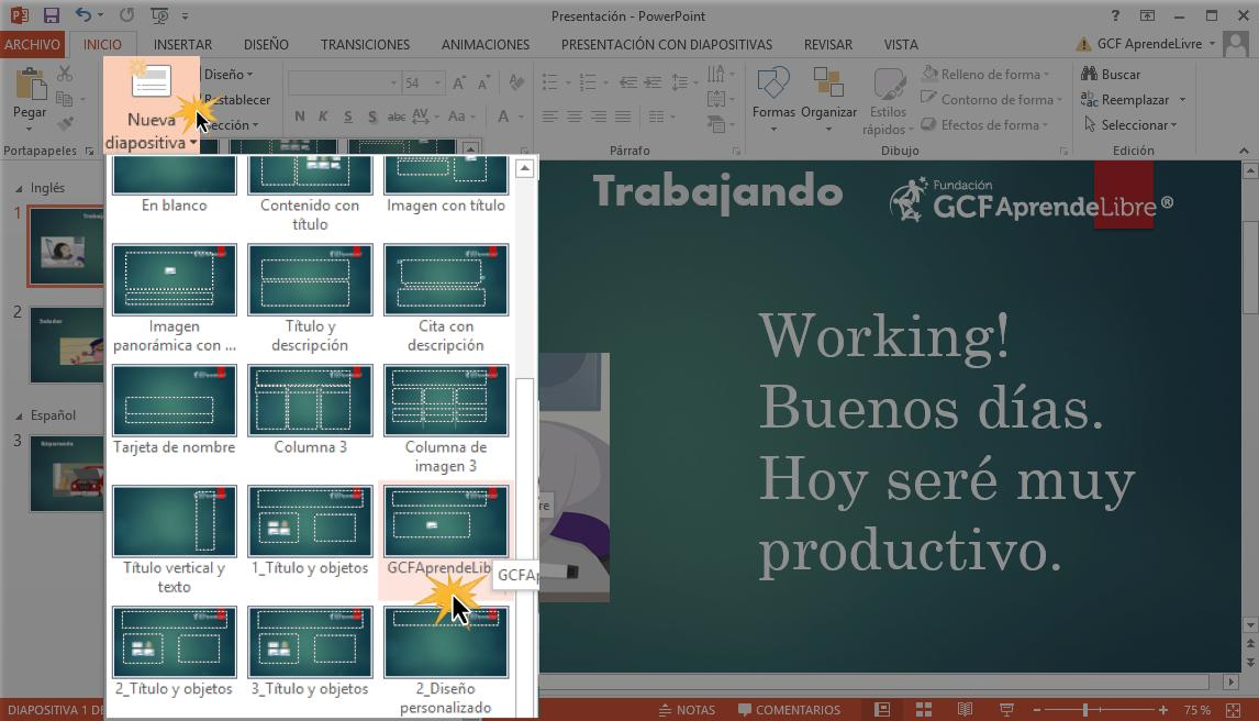 Utilizar nuevo diseño agregando una nueva diapositiva.