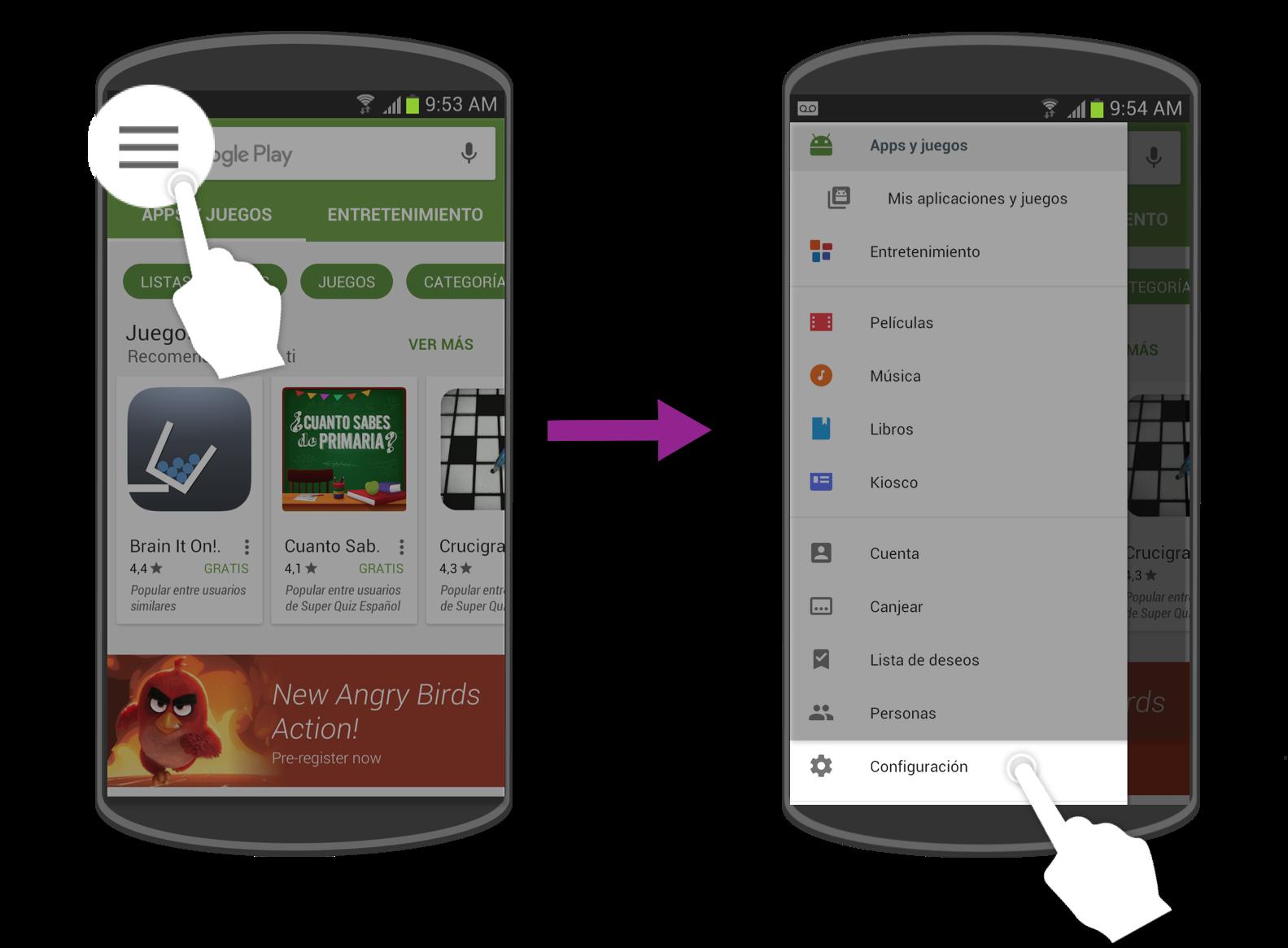 Accede a configuración de la Play Store para activar el control parental.