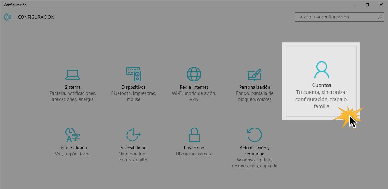 Desde Cuentas puedes configurar todo con lo referente a ellas.