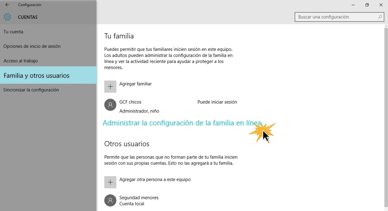 Selecciona Familia y otros usuarios para acceder a los modos de configuración.