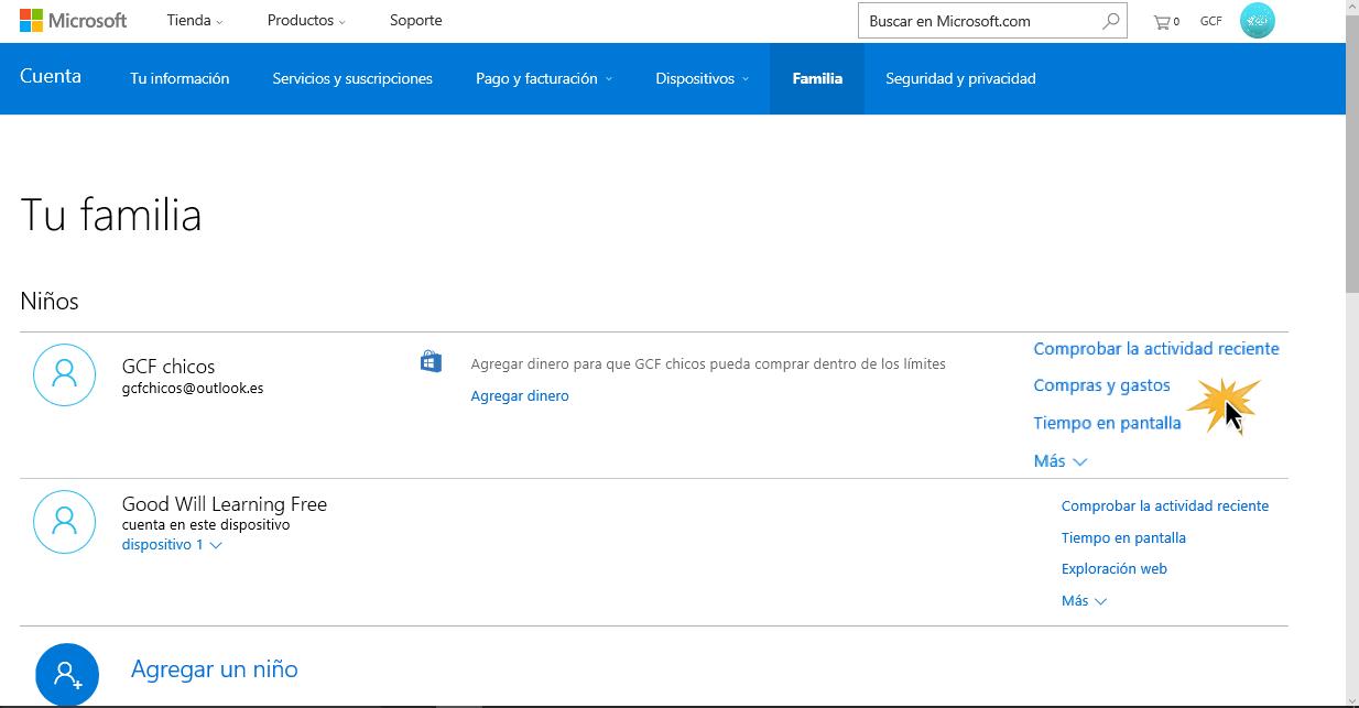 Pulsa sobre las opciones de la cuenta que quieres configurar.