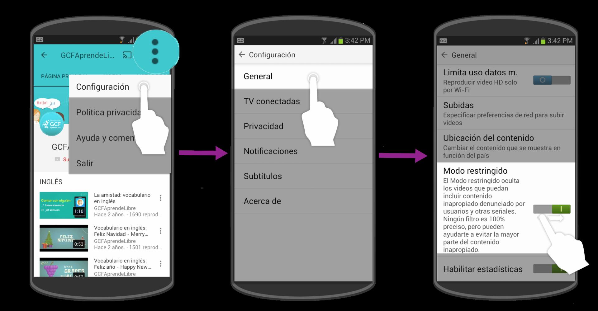 También puedes activar el modo restringido en un dispositivo móvil.
