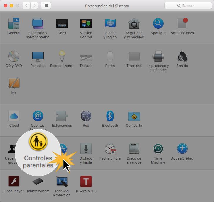 Haz clic sobre Controles parentales para poder configurarlos.