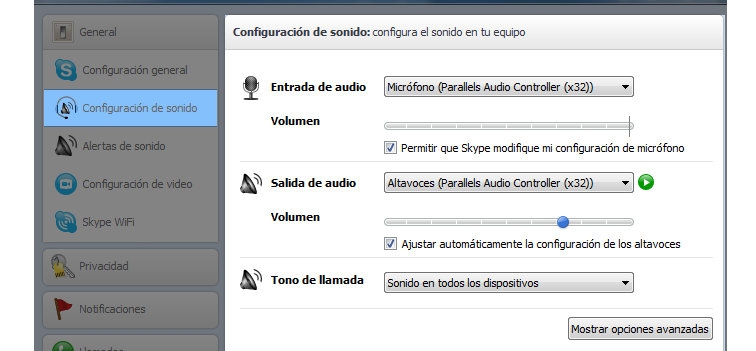 Opciones de configuración de sonido de Skype.