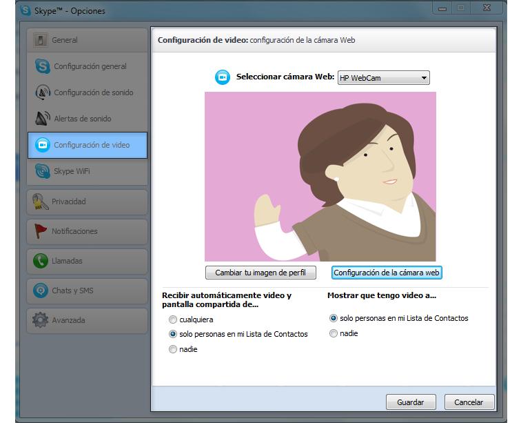 Configuración de la cámara en Skype.