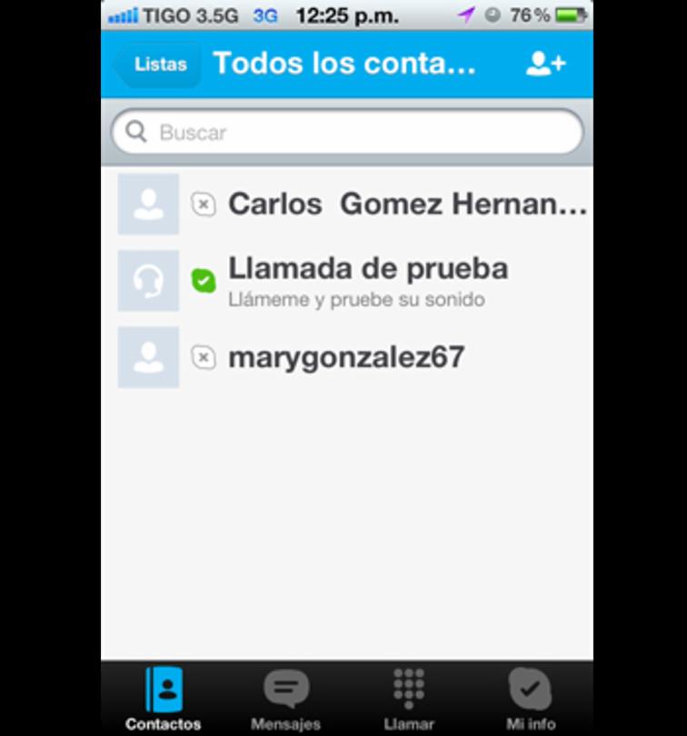 Interfaz de Skype en un iPhone
