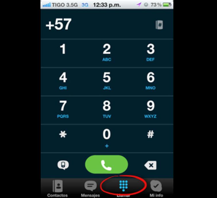 Teclado numérico de Skype en iPhone
