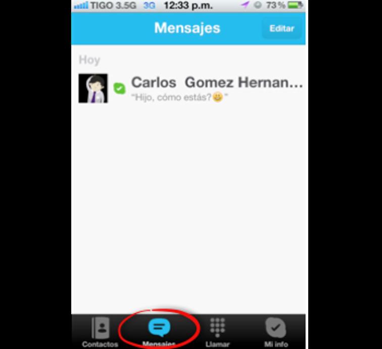 Opción Mensajes interfaz de Skype iPhone