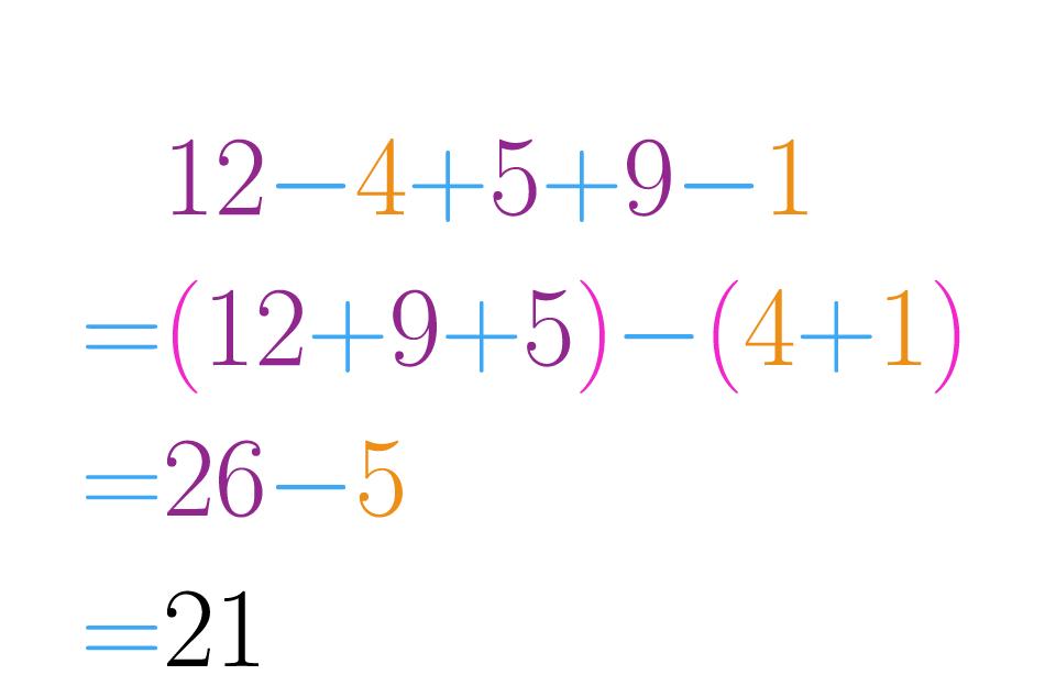 Juntamos os números que somam e os que subtraem a parte.