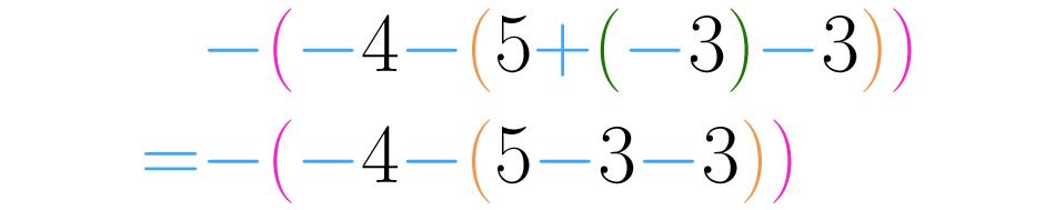 Usamos a regra de sinais para simplificar dois símbolos consecutivos.