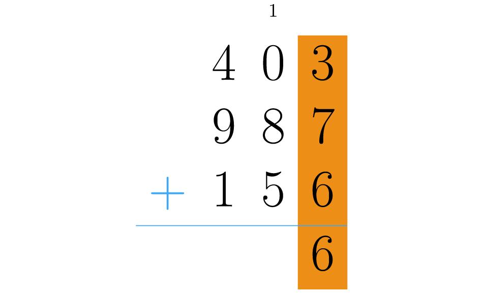 Somamos os números da primeira coluna.