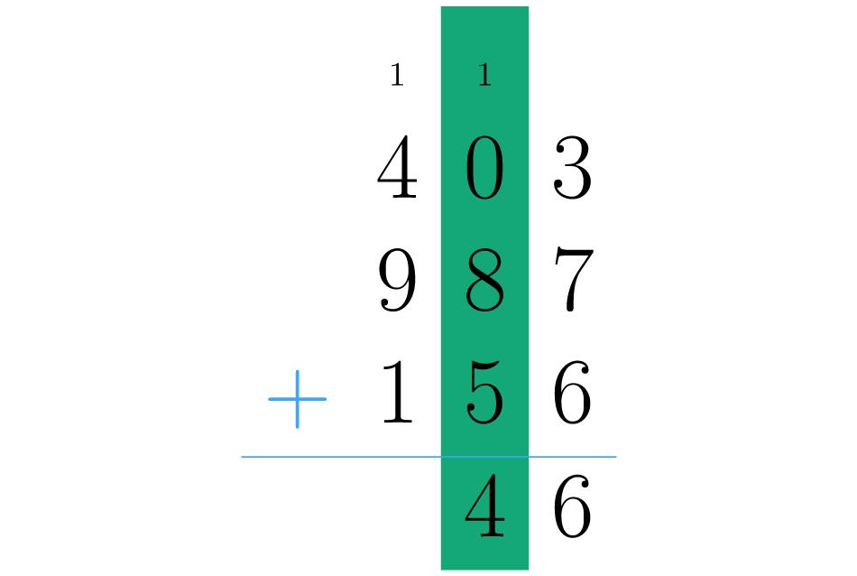 Somamos os números da segunda coluna.