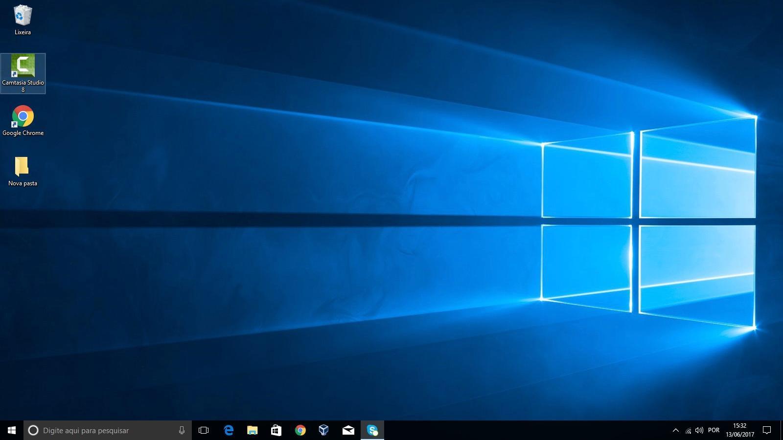 Na área de trabalho do Windows 10 temos acesso diretos assim como à barra de tarefas